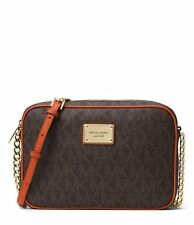 NWT MICHAEL KORS JET SET LARGE LOGO SIGNATURE BROWN/ORANGE CROSSBODY BAG $168