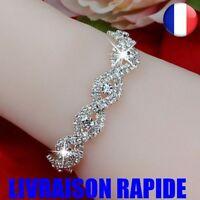 Bracelet Élégant Luxe Argent Strass Cristal  Bijoux Femme Fille Idée Cadeau Mode