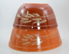 Vintage Pyrex Wheat Pattern Bowls Pair of Orange and Red Great Condition
