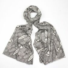 Decorative feather design printed on a solid background scarf wrap shawl sarong