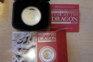 "Australien 1 oz Lunar ""Year of the Dragon"" Drache mit Goldapplikation 2012, PP"