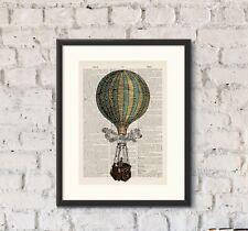 Antique Book page Art Print - Hot Air Balloon 14  Upcycled Dictionary Wall Art