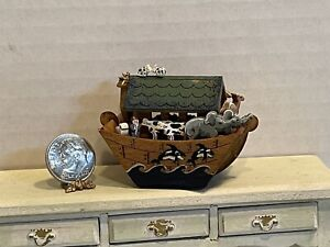 Vintage Artist KAREN MARKLAND '01 Wood Noahs Arc Filled Dollhouse Miniature 1:12