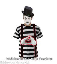 Men's Lady Mime Artist Fancy Dress Costume Paint T-Shirt Gloves Braces Hat (XL)