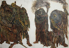 Large gouache, pastels painting theatre costume design Shakespeare's ''Macbeth''