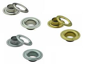 500x Eyelets din 7332, 0 15/32in, Brass, Steel, Stainless Plane, Banner, Leder