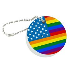 Gay Pride American Flag Rainbow Floating Keychain Round