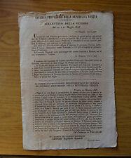 ANTICO DOCUMENTO GOVERNO PROVVISORIO REPUBBLICA VENETA BULLETTINO GUERRA 1848
