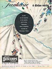 PUBLICITE ADVERTISING 065  1957  DESCAMPS L'AINE   draps  décor FANTAISIE