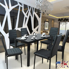 GLASS DINING TABLE SET WITH 6 FAUX LEATHER CHAIRS BLACK GOOD QUALITY FURNITURE