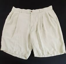 Tommy Bahama Men's Size 38 Relaxed Silk Pleated Pockets Beige Bermuda Shorts