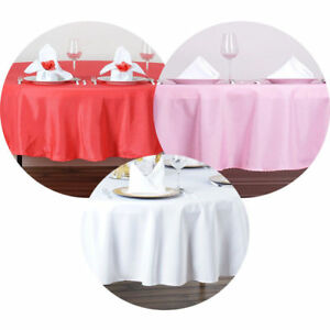 """10 PACKS 60"""" inch ROUND Tablecloth Polyester WEDDING PARTY Cover 21 COLORS USA"""