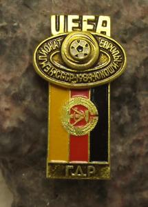 1984 UEFA European Football Championship East Germany Team Soccer Flag Pin Badge