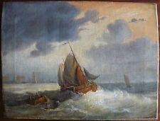 peinture marine par temps orageux XVIIIème / école hollandaise / 39,5 cm x 30 cm