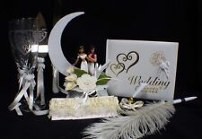Aladdin & Jasmin Wedding Cake Topper Glasses Server Book Garter LOT Disney IVORY