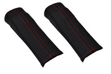 RED STITCH FITS JAGUAR S TYPE 99-07 2X FRONT SEAT BELT STALK LEATHER COVERS