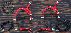 Red Cruiser Bike Brake Set Lever Cable Caliper OS BMX Vintage Schwinn Bicycle