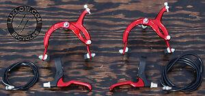 Red Cruiser Bike Brake Set Lever Cable Caliper OS BMX Vintage Schwinn Bicycle