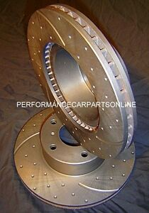 DRILLED & SLOTTED Audi Q7 350mm FRONT Disc Brake Rotors NEW PAIR with WARRANTY