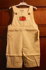 Fantaisie Kids Ivory Santa Sleigh Toddler Boys Overalls - size 18M