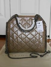 NWT Auth $1200 Stella McCartney Falabella Quilted Metallic Mini Tote, Redwood