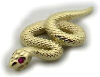 Neu Anhänger Schlange echt Gold 585 Gelbgold mit Rubin 14 Karat Kobra Top Snake