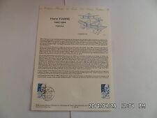 TIMBRE PLANCHE PREMIER JOUR HENRI FABRE 1882-1984   A 1 86 108         G26