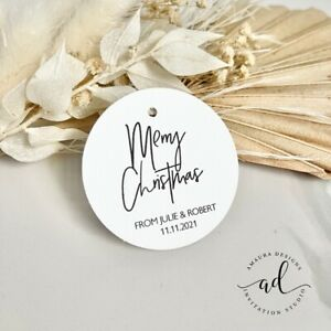 12 Personalised Christmas Gift Tags Xmas Presents Gifts Labels White Tag Merry