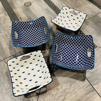 Certified International Blue Porcelain Lattice Pattern Serving Bowls Set of 4
