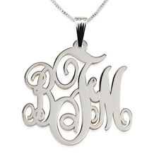Monogram Necklace Sterling Silver 1.2″ Inch - Personalized Initial Name Pendant