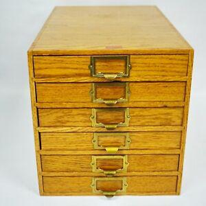 Vintage Rare Weis Oak 6 Drawers Wood File Dental Optical Watchmaker Table Top