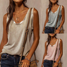 Summer Women Casual Tunic Crew Neck Blouse Loose Sleeveless T-shirt Tops Tank