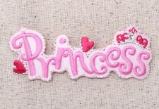 Pink Princess - Hearts/Crown - Iron on Applique/Embroidered Patch