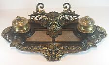 SUBSTANTIAL VINTAGE CAST METAL DOUBLE INKWELL DESK INKSTAND - GREEN MAN DESIGN