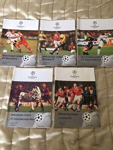1998-99 Manchester Utd CL Programmes v Barca,Brondby,Bayern,Milan & Juventus
