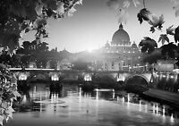 Rome Italy Landscape Poster Black & White Wall Art Print Card or Canvas