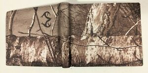 NEW Men's Realtree RFID Blocking CAMO Canvas Genuine LEATHER Black Bifold Wallet