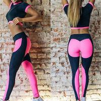 1Set 2PCs Woman Workout Tracksuit Fitness Gym Running Yoga Sports Top&Long Pants