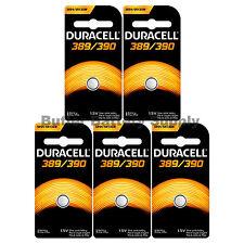 5 389/390 Duracell Silver Oxide Batteries (AG10, 189, LR1130, SR1130SW, SR54)