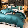 Egyptian Cotton Bedding Set Embroidered Duvet Cover Cover Fitted Flat Bed Sheet