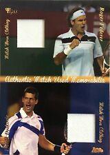 2012 Ace Roger Federer Novak Djokovic Match Used Shirt Patch Relic DMS2 Jersey