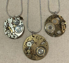 Steampunk Necklace Pendant - Recycled Watch - Cogs - Victorian Retro - Silver