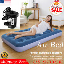 Twin Size Inflatable Couch Mattress Air Bed Sleeping Mats Home Outdoor w/Pump Us