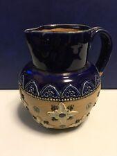Antique Royal Doulton Stoneware Jug - Blue with raised floral pattern c. 1920s