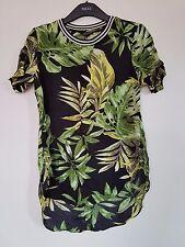 Topshop Black Green Leaf Floral Print Sporty Asymmetric T Shirt Top Size 10