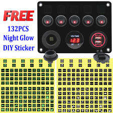 5 Gang Red LED ON-OFF Toggle Switch Panel 2 USB For Car Boat Marine RV Truck 12V