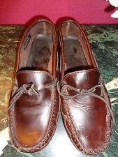 MINNETONKA MENS DARK BROWN THICK LEATHER BOAT SHOES MOCASSINS 13M EXCELLENT