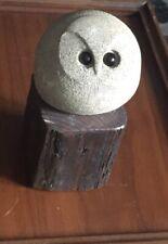 Mid Century Modern Brutalist Style Carved Ceramic Owl Figurine Sculpture