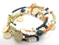 BOHO FASHION HAND CRAFTED ORANGE & NAVY BLUE BEADED MEMORY WIRE WRAP BRACELET