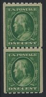 US Stamps - Scott # 390 - Franklin Coil Pair - Mint Never Hinged        (H-1127)